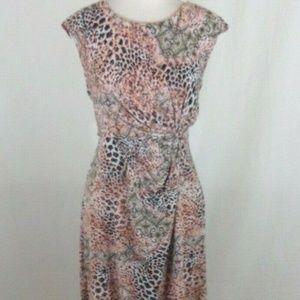 Dana Buchman Animal Print Dress Front Side Knot PM